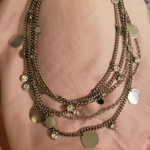 Silver Disks & Rhinestone Cascading Necklace